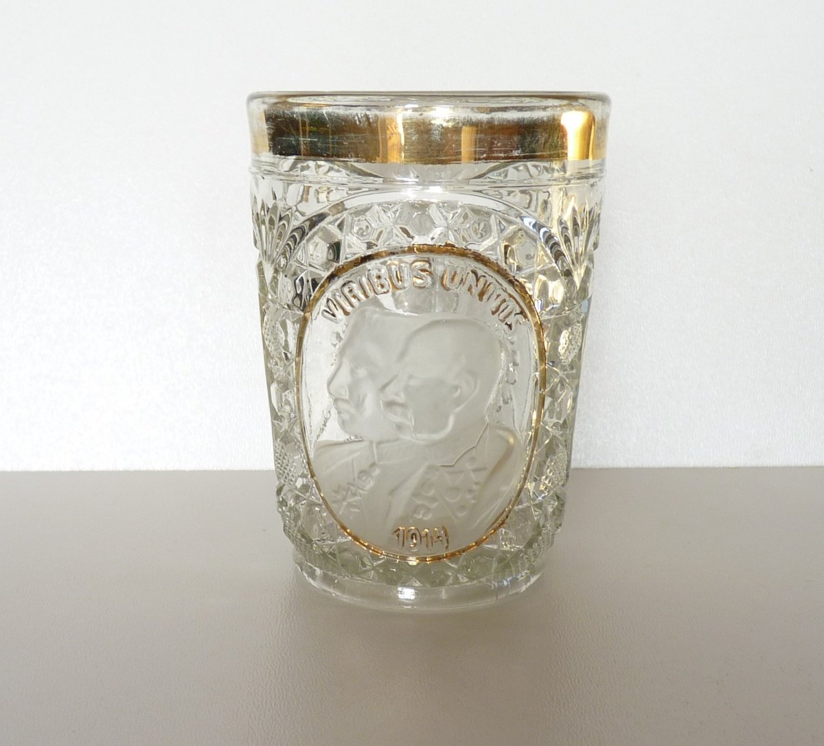Pressed glass with portraits of the emperors