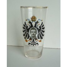 High glass with portrait of emperor Carl and the austrian eagle