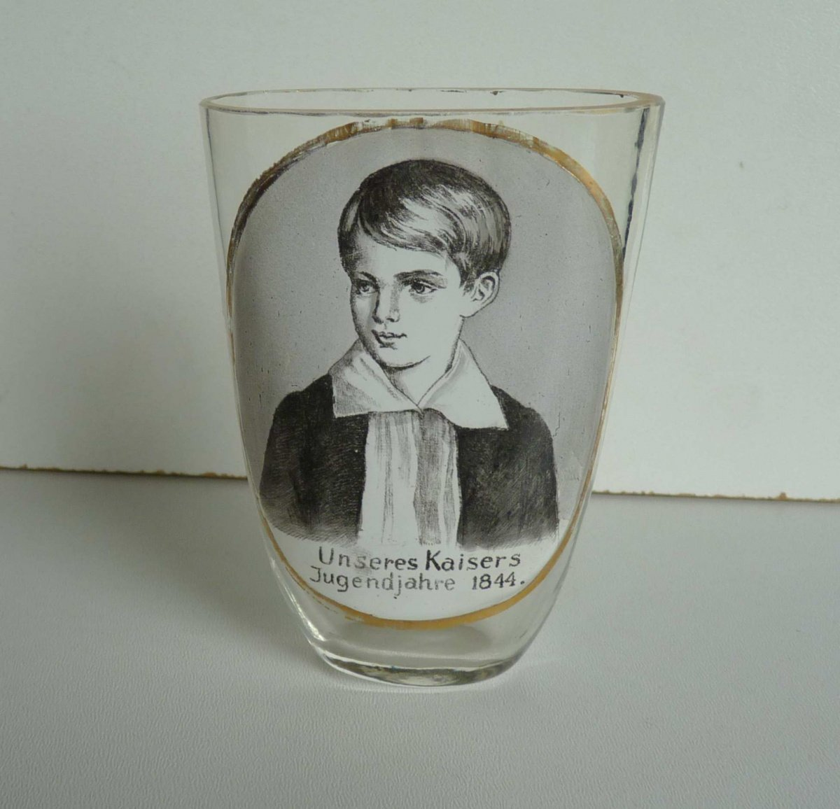 Unique oval glass with portrait