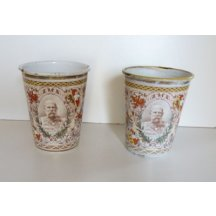Two cups with a portrait of Franz Josef in uniform