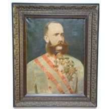 Hand-painted portrait of Francis Joseph (c. 1880) with a decorative frame