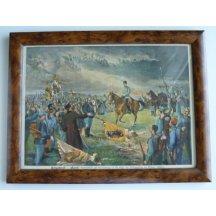 František Josef jedoucí na koni a jásající vojáci