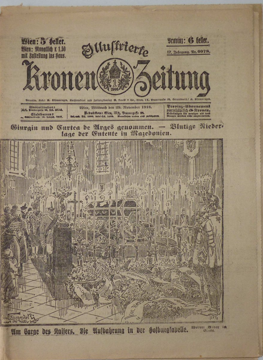 Noviny ,, KRONEN ZEITUNG ,, - pohřeb Franz Josefa