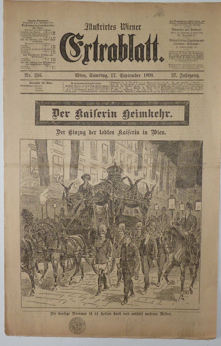 Funeral of empress Elisabet - newspaper