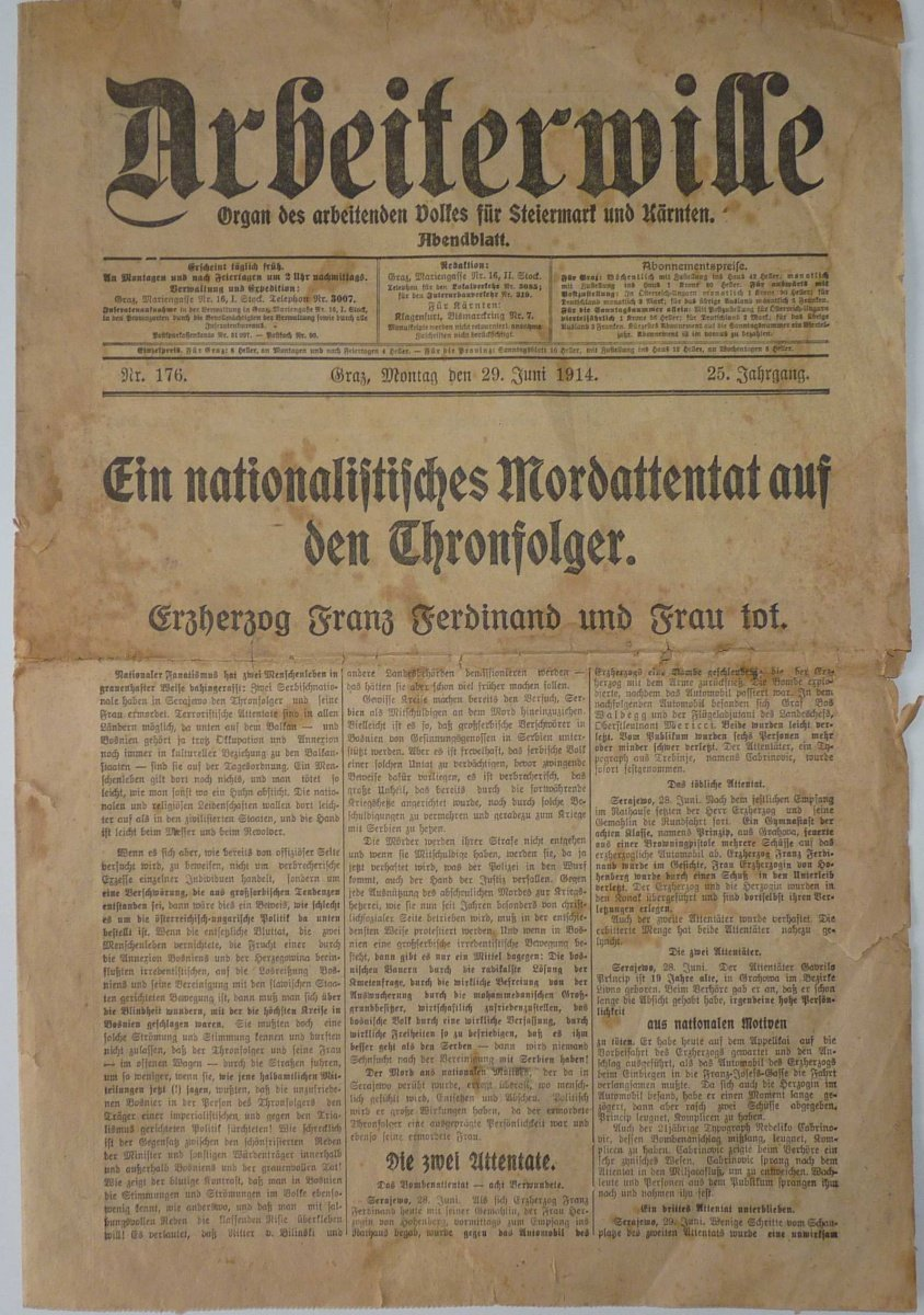 Assassination of Franz Ferdinand and his wife, newspaper