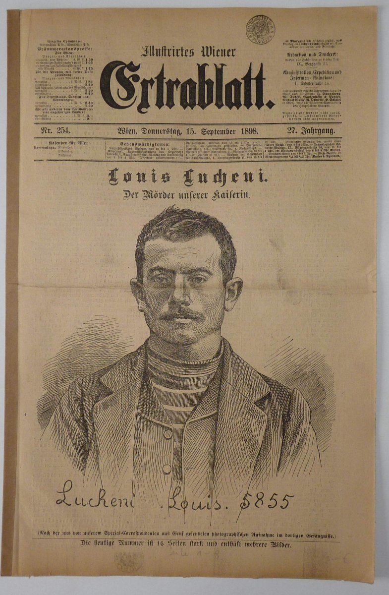 Assassination of empress Sissi - newspaper