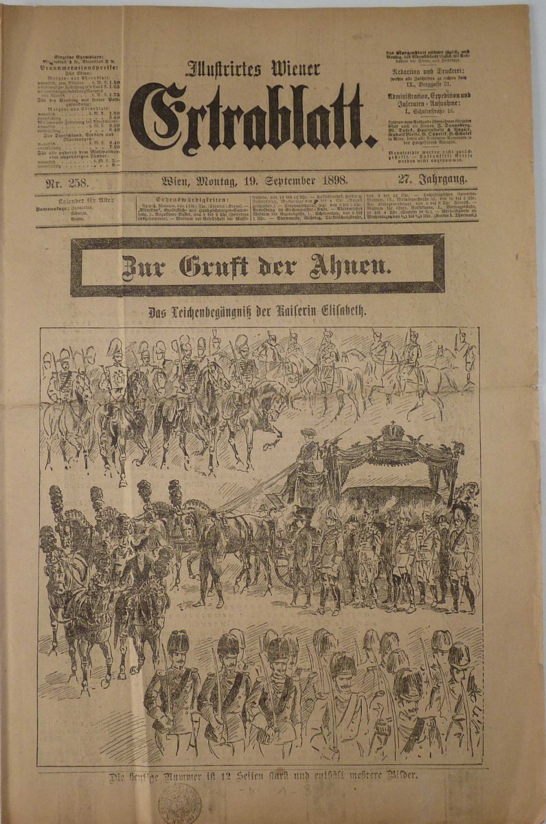 Newspapers' Ertrablatt,, - The funeral of Empress Elisabet