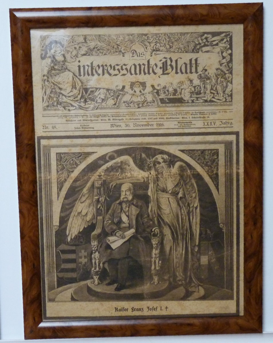 Full papers of Franz Josef's funeral (as glazed picture)