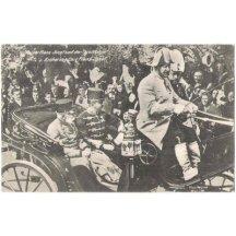 František Josef a Karel - v kočáře a jásající lid