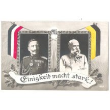 Color postcard with emperors - flags of Germany and Austria