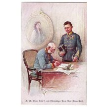Franz Joseph and standing Carl / on wall is picture of Elisabeth (Sissi)