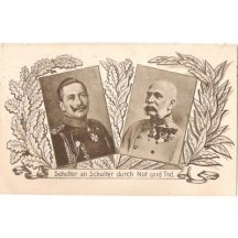 Black and white postcard of emperors - Franz Joseph and Wilhelm