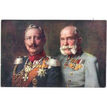 Franz Joseph and Wilhelm - color postcard of emperors
