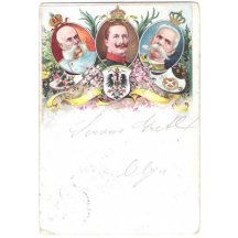 Color postcard of emperor Franz Joseph and Wilhelm with King of Italian