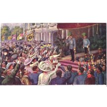 Emperor Franz Joseph and Charles - cheering citizens