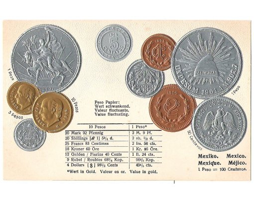 Mexico - postcard with coins | Internet museum of Franz