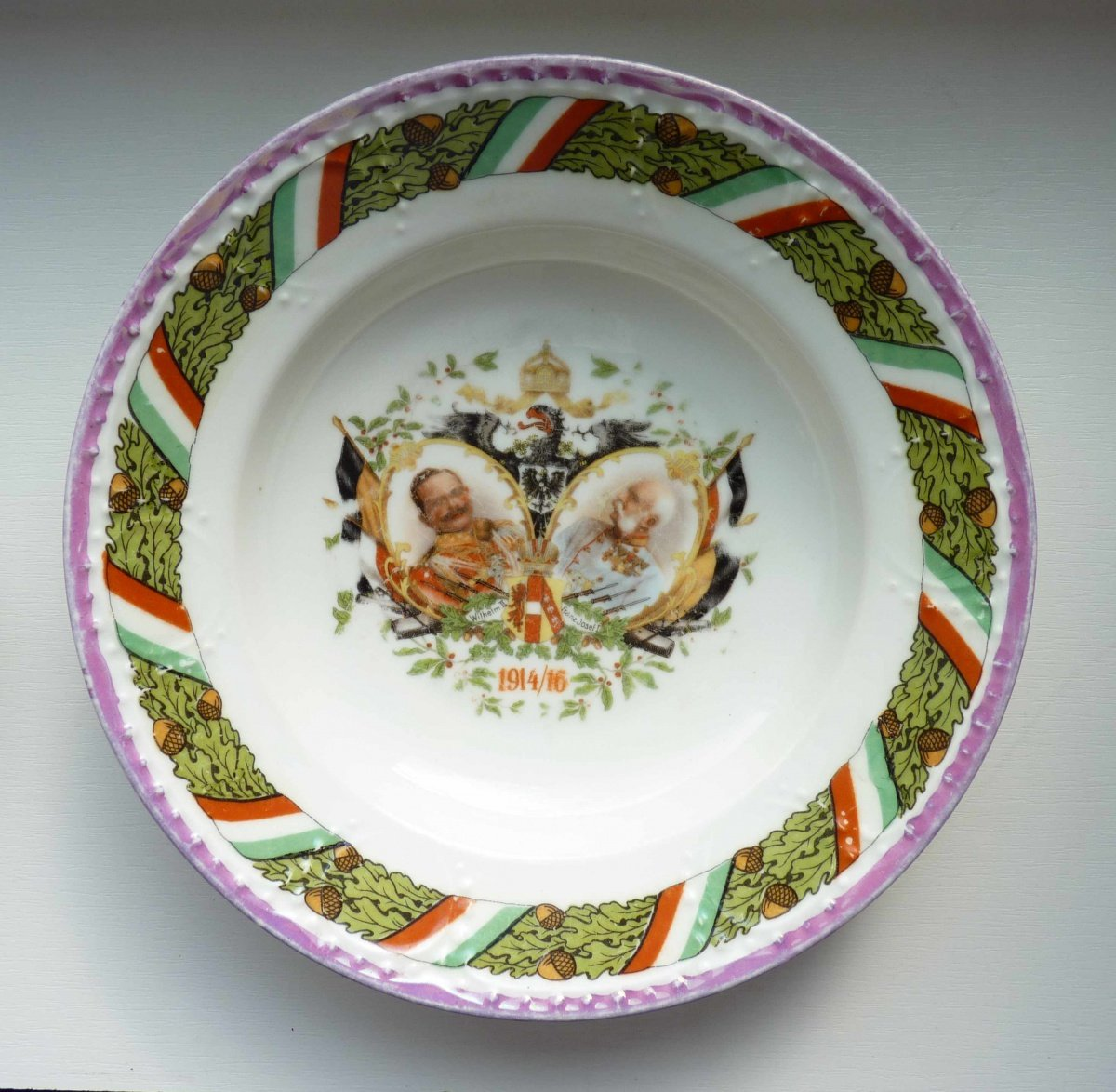 Plate with a double portrait of Kaiser Wilhelm and Franz Joseph / 1914 - 1916