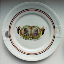 Plate with a double portrait of Kaiser Wilhelm and Franz Joseph / 1914