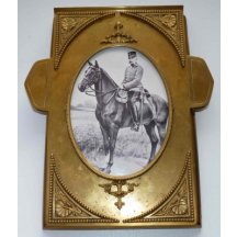 Franz Joseph I. on horse / brass - frame size A4 - beautiful handmade