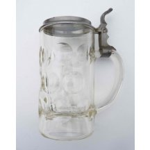 Glass beer mug with pewter lid