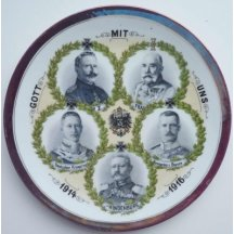 Talíř s portréty Franz Josefa I. , Wilhelma II., maršála Hindenburga