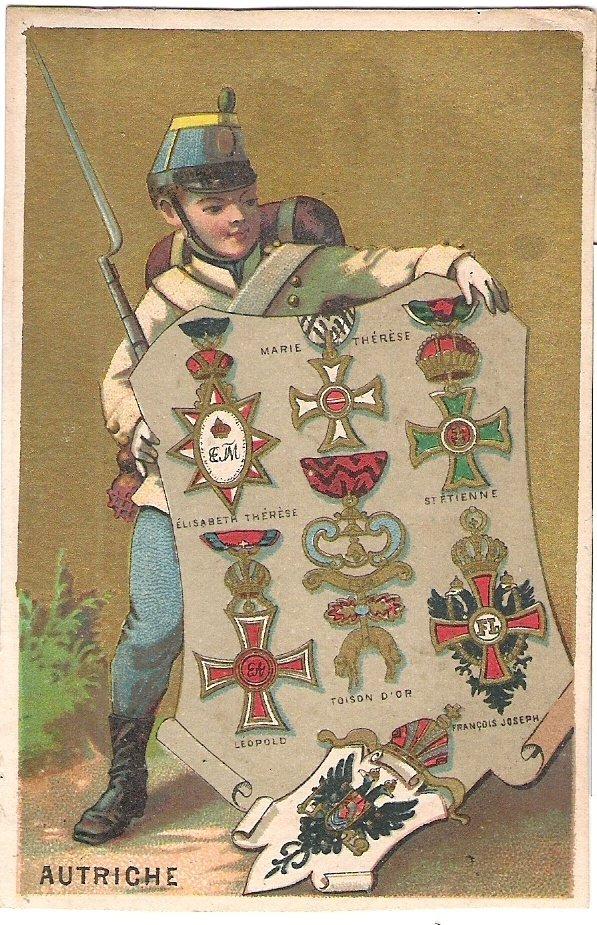 Malá kartička s různýmy typy vyznamenání s vojáčkem