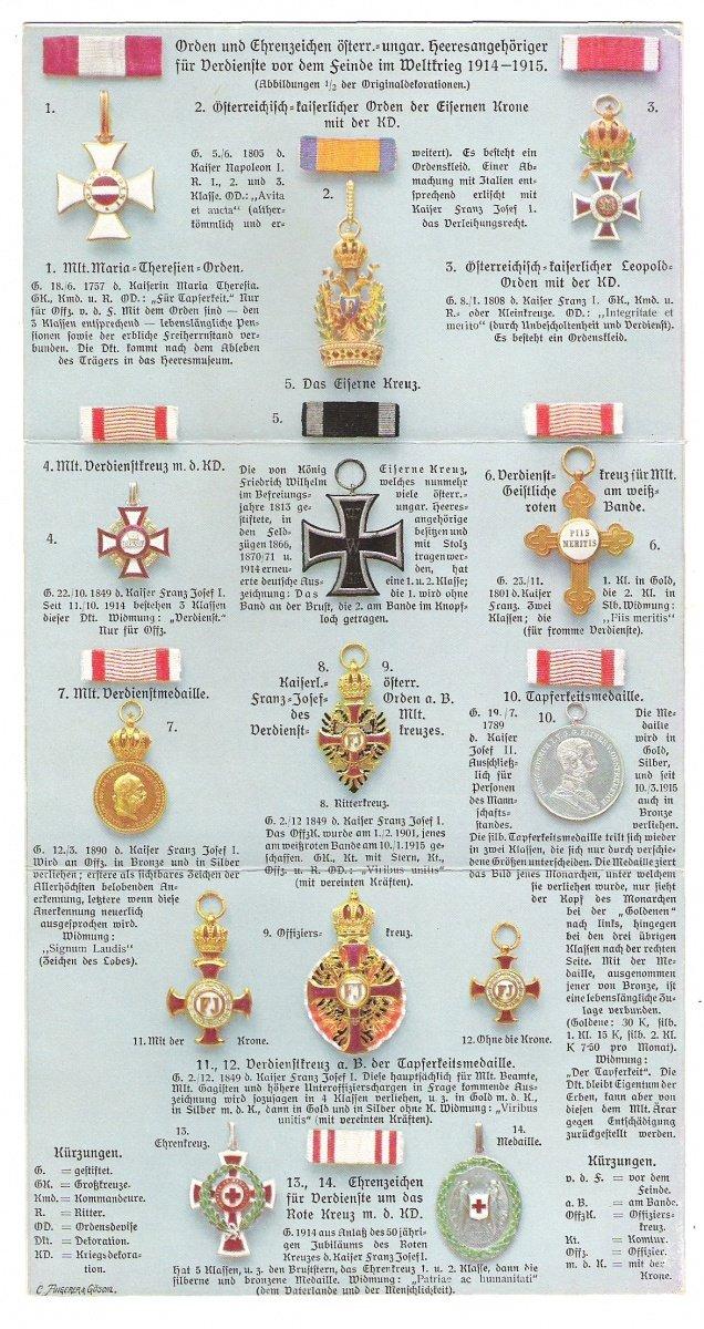 Kompletní soutisk 3 pohlednic - řády Franz Josefa I. - mimořádné