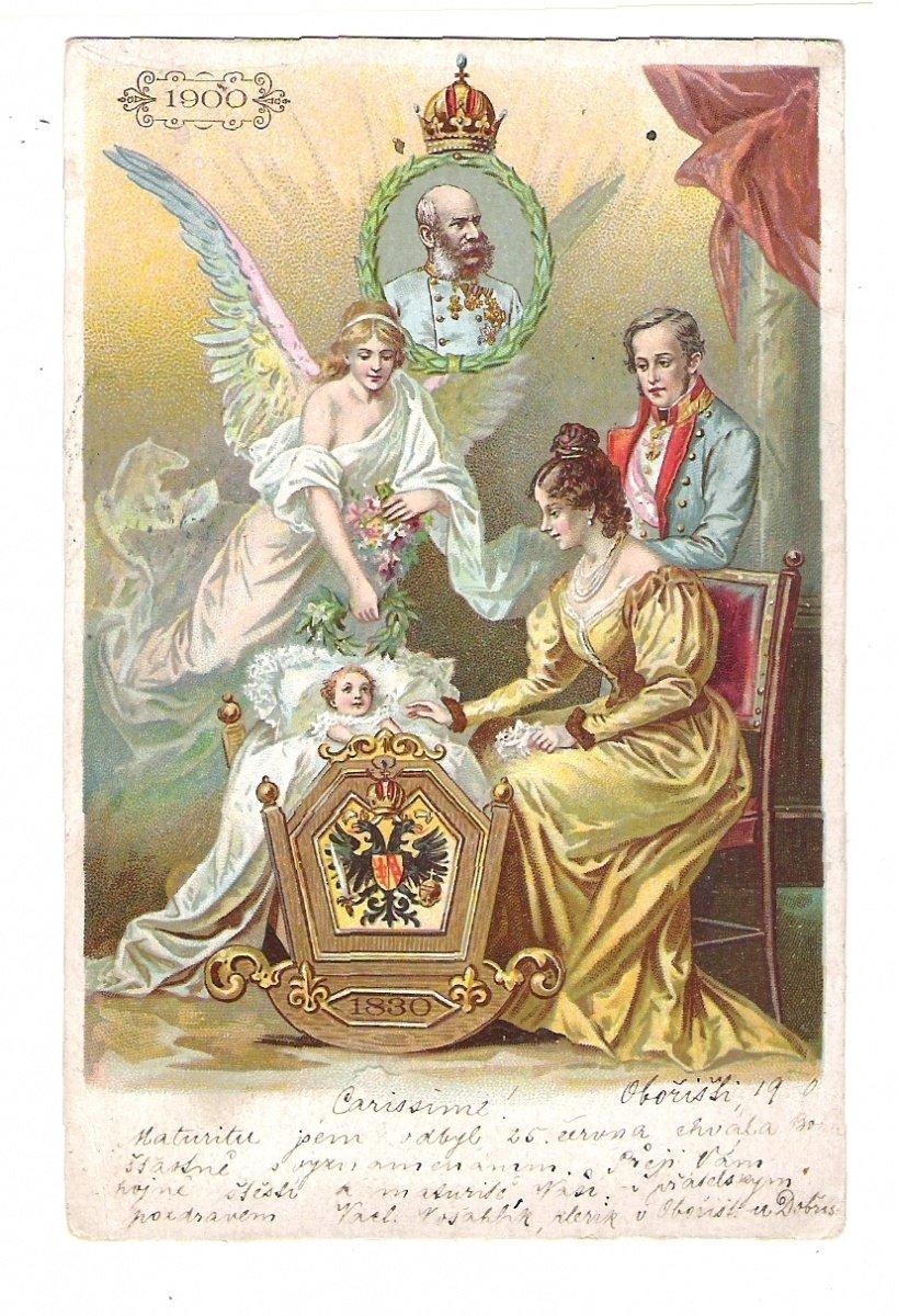 Malovaná pohlednice vydaná k 70. narozeninám Franz Josefa I.