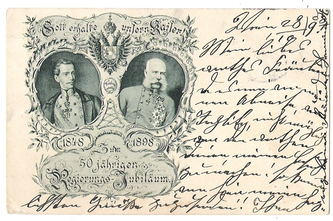 Double - portrait of Franz Joseph I. , made for 50. anniversary of government