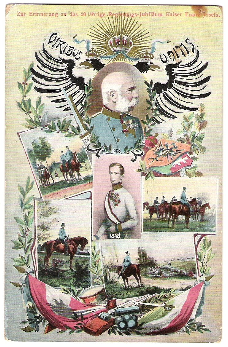 Colored double - portrait - Franz Joseph + pictures of F.J.I on a horse