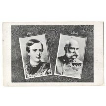Black and white portraits of Franz Joseph , years 1848 and 1908