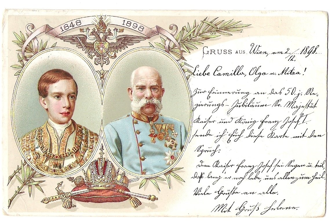 Painted double - portrait of Franz Joseph , 1848 - 1898