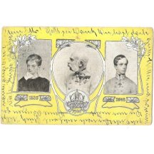 Trojportrét císaře Franz Josefa I. ztvárněný ve žlutém poli