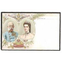 Kolorovaná pohlednice - Pozdrav s Franz Josefem a Elisabeth