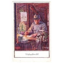 Christmas 1915, soldier is writing compliment of the season