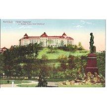 Barevná kresba, Hotel Imperial, socha Franz Josefa, Karlovy Vary