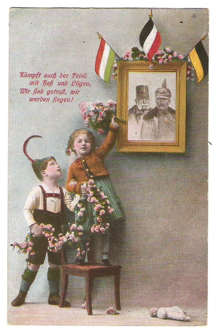 Children and painting of Franz Joseph and Wilhelm on the wall