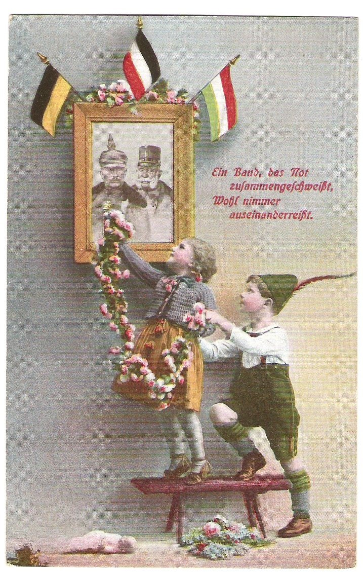 Children are giving flowers on a painting of Franz Joseph and Wilhelm