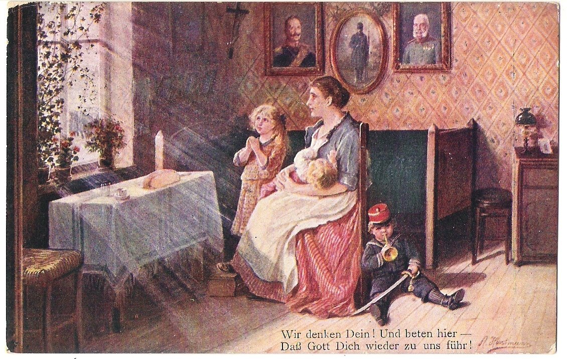Family is praying, there is a picture of Franz Joseph I. on the wall