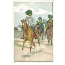 Veselá barevná fotografie Franz Josefa a vojáků