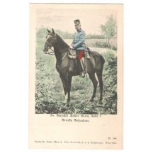 Franz Josef I. na koni, barevná kresba, Vídeň