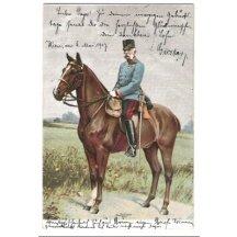 Císař Franz Joseph sedící na koni