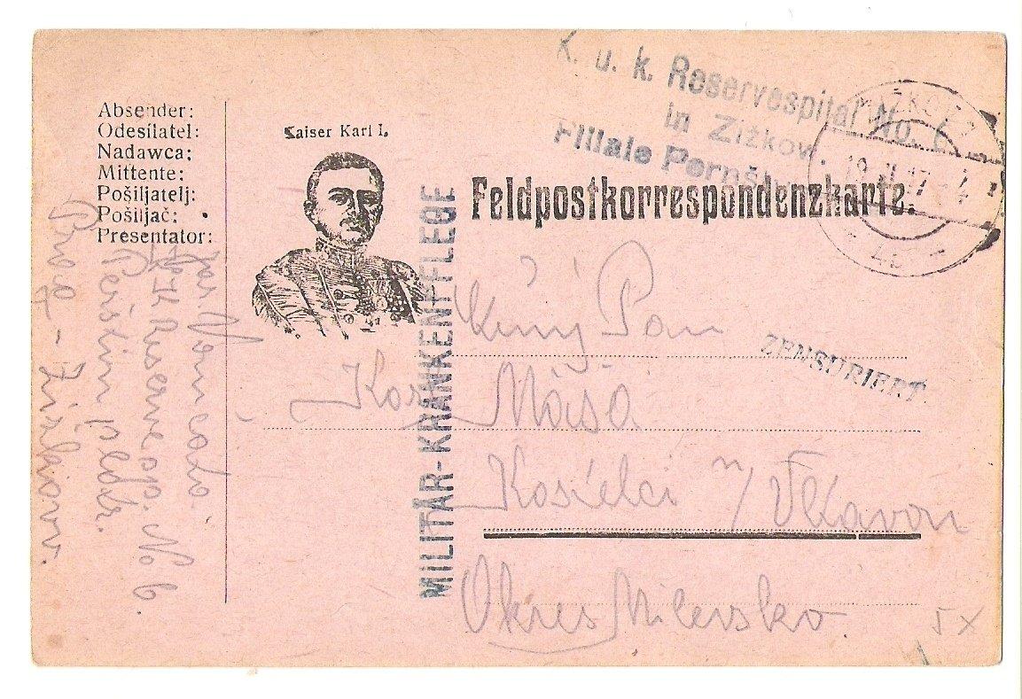 Císař Karel I.- lístek polní pošty (2)