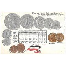 Postcard with coins of german emperors