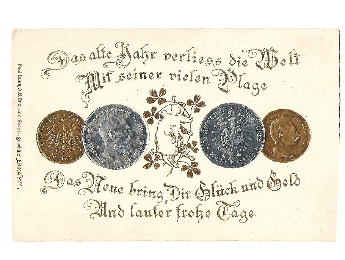 Pohlednice s mincemi Wilhelma a Fridricha
