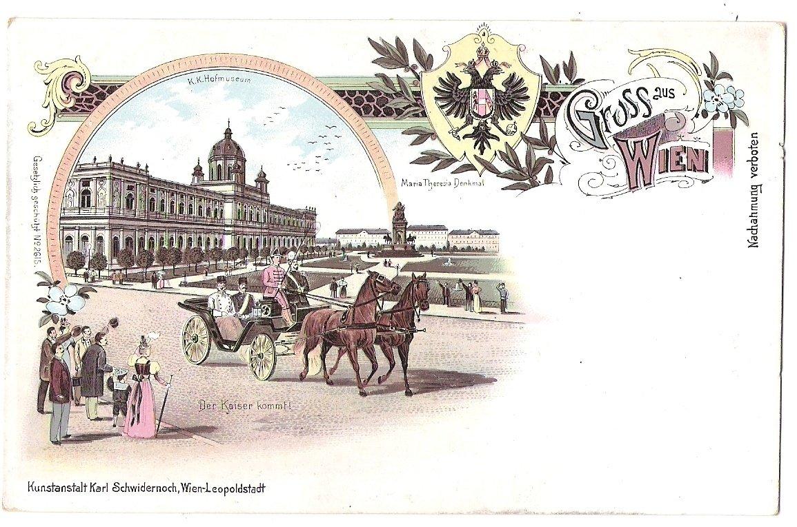 Jásající lidé při příjezdu císaře Františka Josefa do Vídně