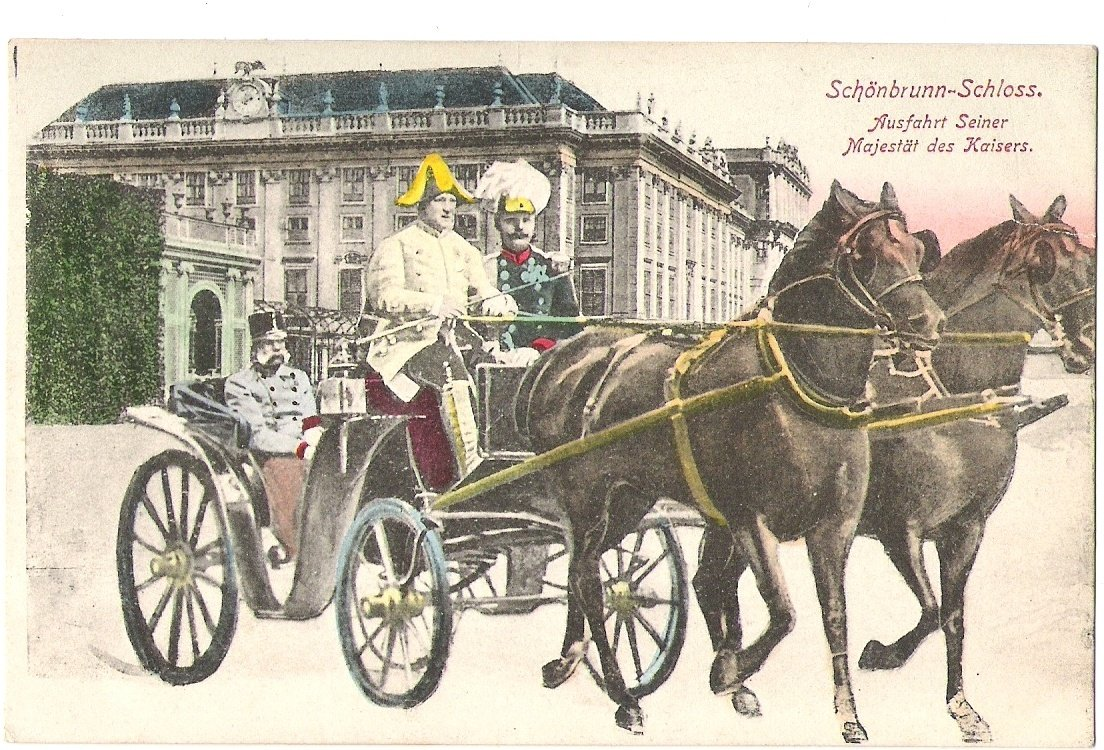 Franz Joseph in coach behind schönbrunn church