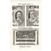 Franz Josef and Wilhelm with crowns and garlands
