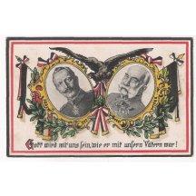 Franz Joseph and Wilhelm - beautiful color postcard