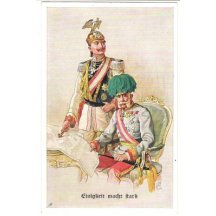 Color postcard of Wilhelm and Franz Joseph